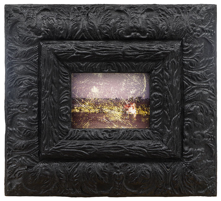 "Landscape Found in the Gutter   Found photograph and encaustic on wooden frame, 12"" x 13-3/8"" x 1-1/4"", 2017"