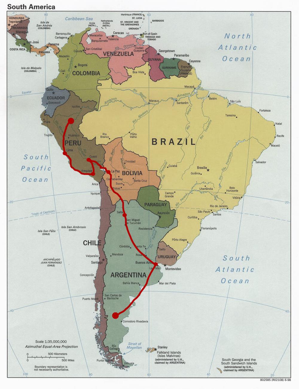My route through Peru, Bolivia and Argentina