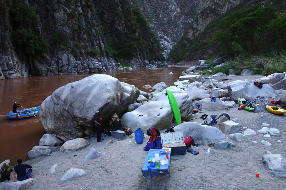Camp set up on the Apurímac River, Peru