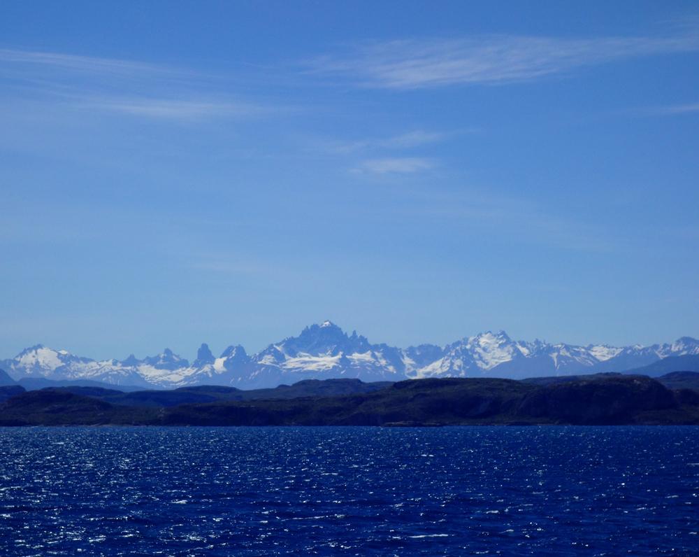 Cerro Castillo from the General Carrera ferry - Chile