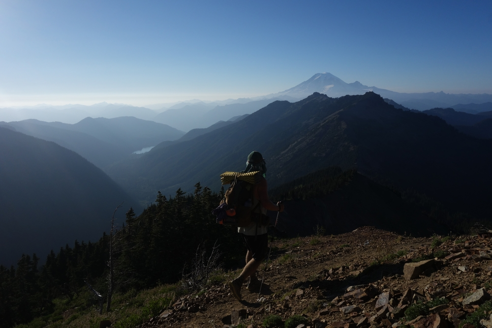 Descending from the Goat Rocks with Mount Rainier in the background, Washington State