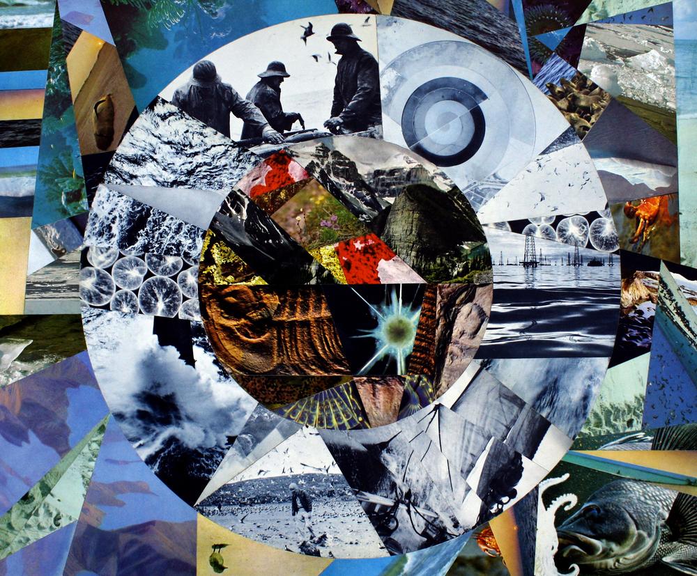 """Split Ring Sea"", 24 x 18, Paper Collage on Wood Panel"