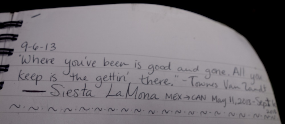 A fellow thru-hiker's note in the logbook at the Canadian border sums up my feelings on the hike