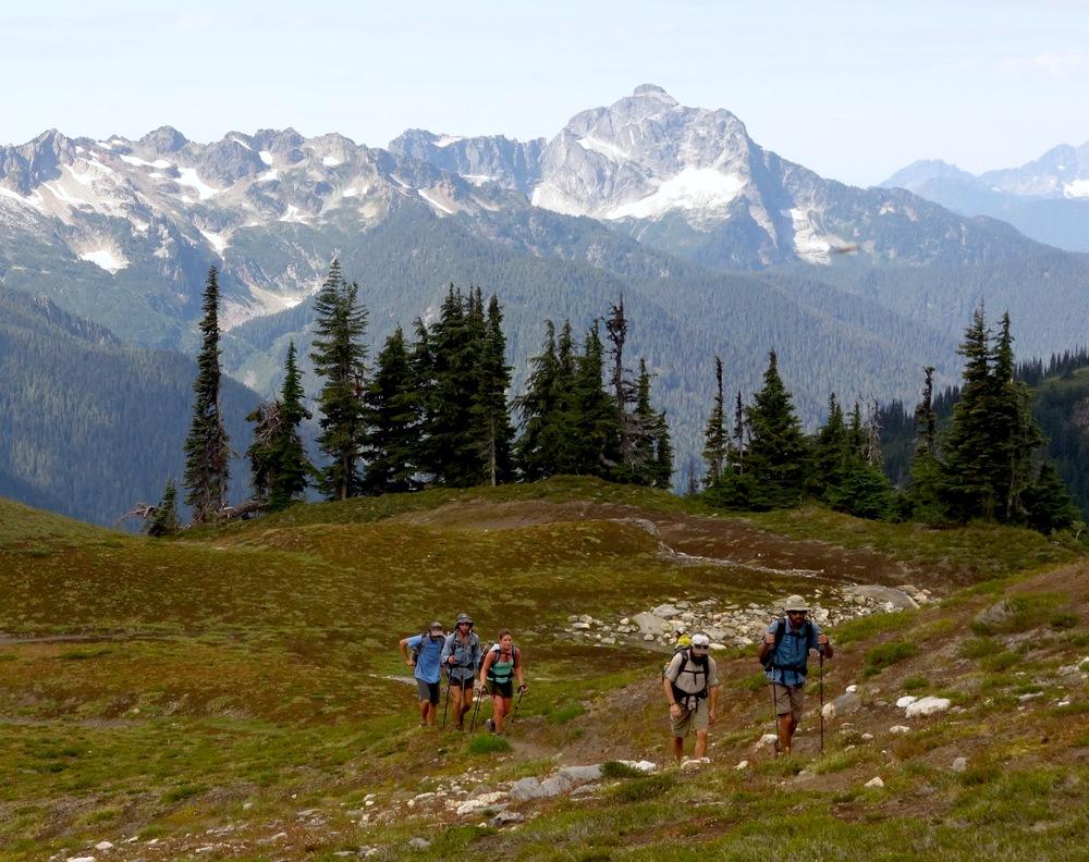 Our thru-hiker posse approaching Glacier Peak in Northern Washington