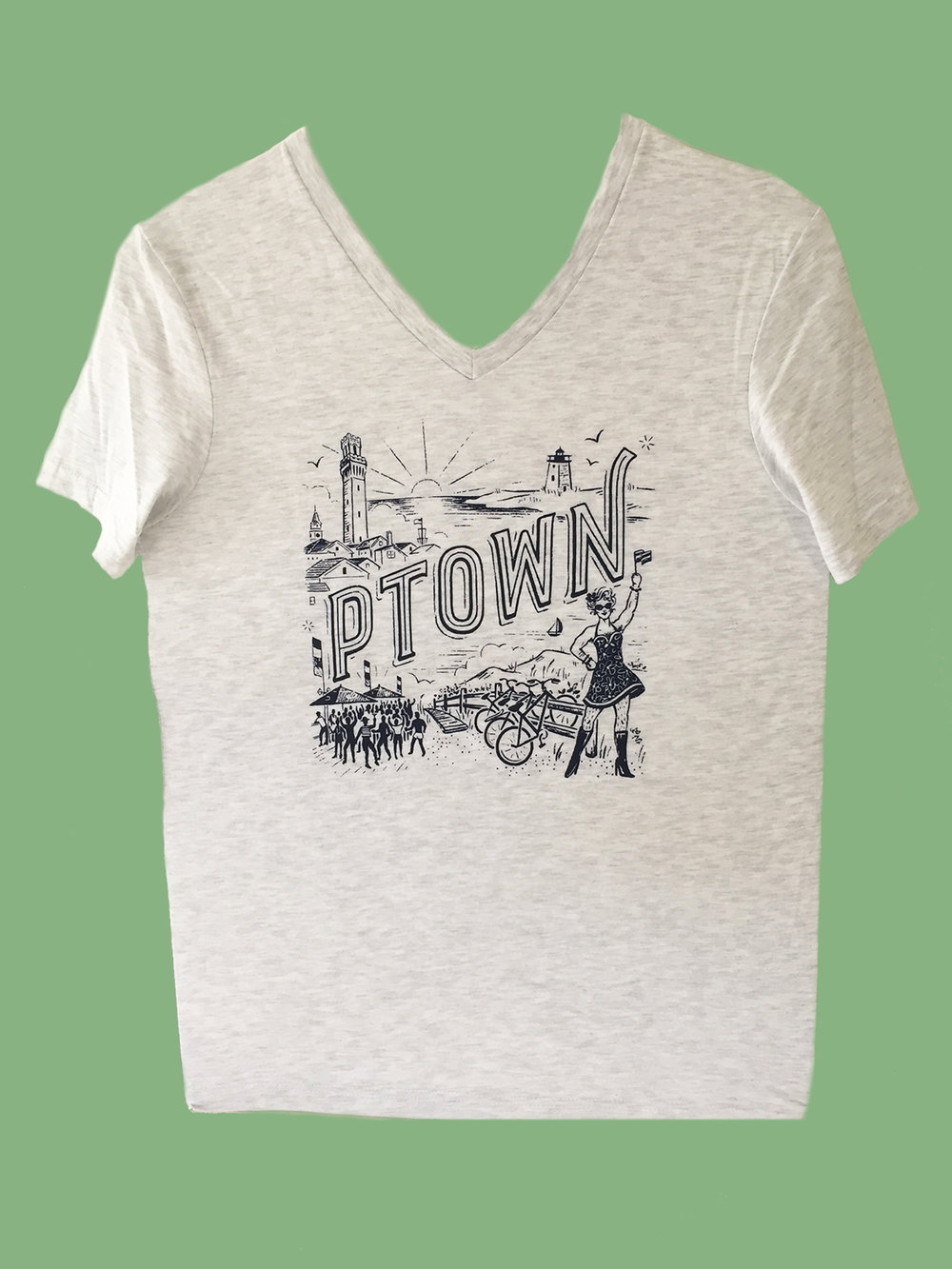 T-SHIRT: Gray Ptown V-Neck
