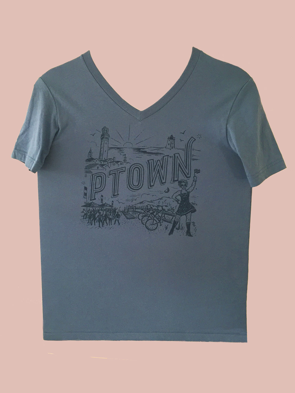T-SHIRT: Blue Ptown V-Neck