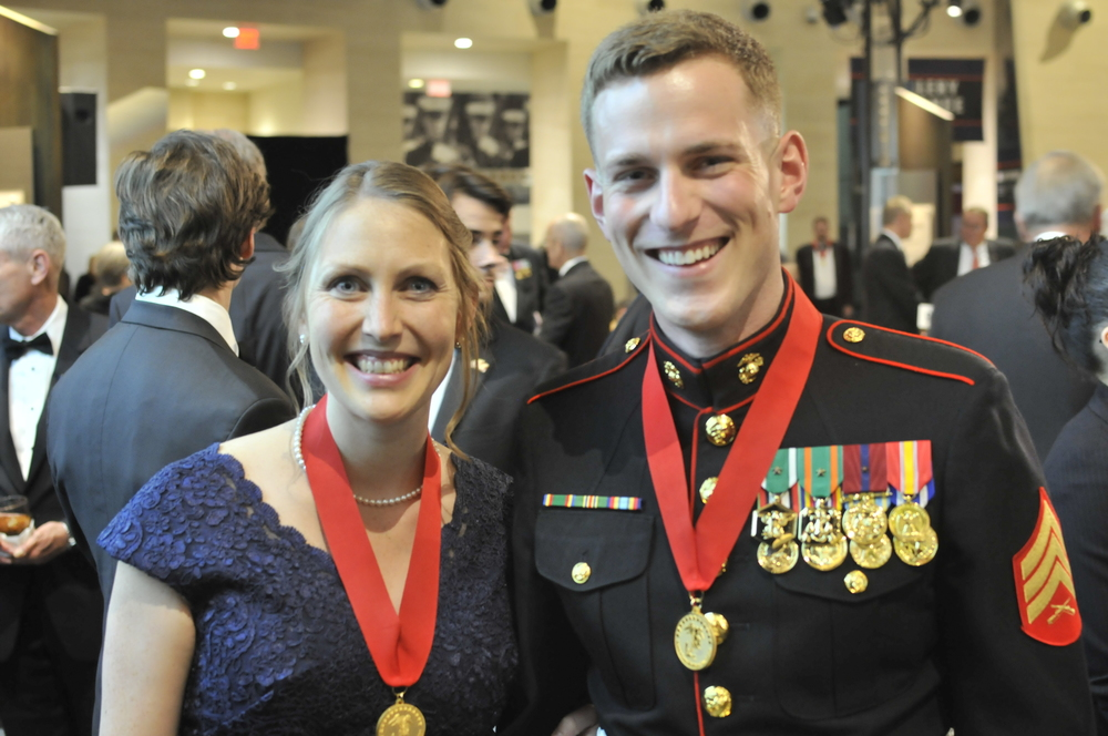 Mardie Rees & fellow Washingtonian/award recipient, Sergeant Reece Lodder, USMC