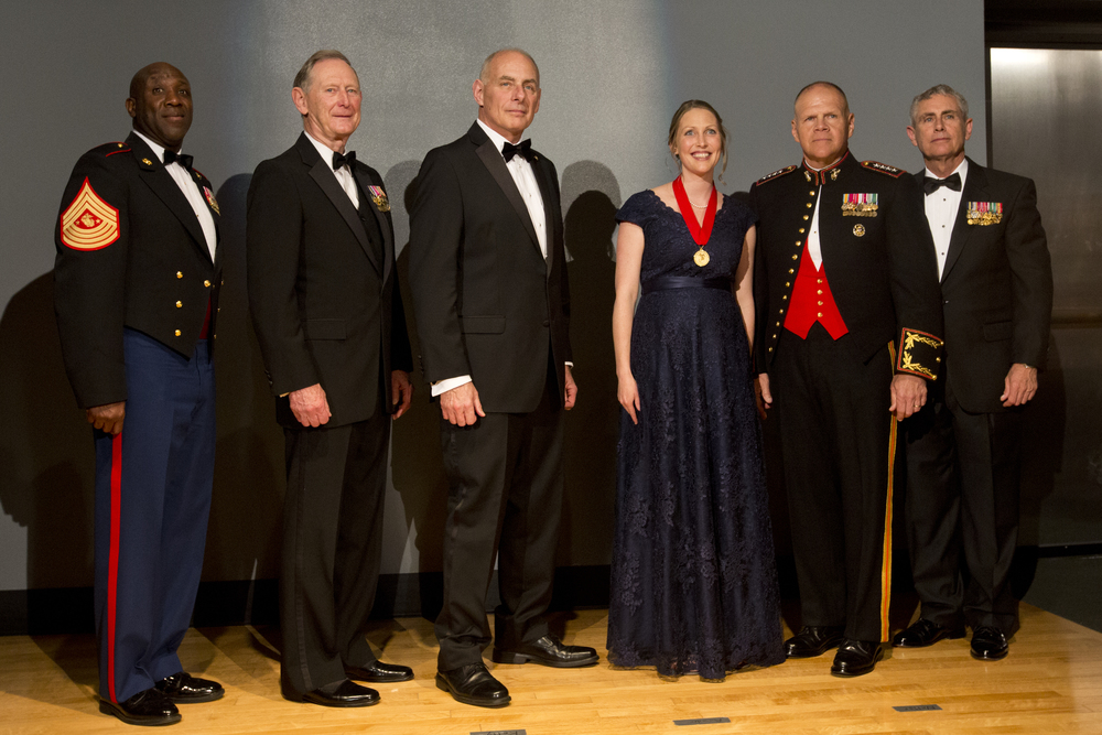 (left to right) Sgt. Maj. Ronald L. Green,  Chairmen Gen Walk Boomer (Ret), incoming Chairman Gen John Kelly (Ret), Mardie Rees, Gen Robert B. Neller, and Marine Corps Heritage Foundation President Lt. Gen Robert R. Blackman, Jr. (Ret)
