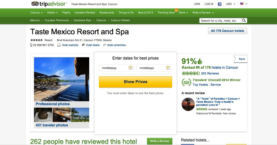 Figure 2 Taste Resorts if it appeared on Trip Advisor