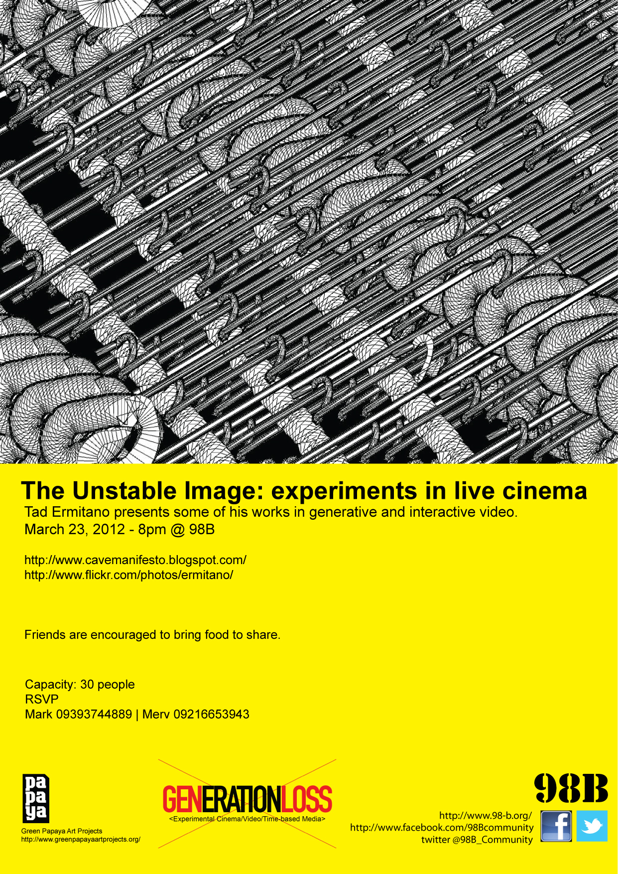 March 23, 2012 - 8pm @ 98B   The Unstable Image: experiments in live cinema    Tad Ermitano presents some of his works in generative and interactive video.     http://    www.cavemanifesto.blogspot .  com/    http://www.flickr.com/   photos/ermitano/  GENERATIONLOSS   Tad Ermitaño graduated from the Philippine Science High School in 1981, studied Zoology in the University of Hiroshima, and graduated with a degree in Philosophy from the University of the Philippines. He was also trained in film and video at the Mowelfund Film Institute. He was a founding member of the seminal sound art band The Children of Cathode Ray and is a leading media artist who uses sound, video, programming and electronics in the creation of his films and installations, which have been exhibited in numerous local and international festivals and galleries.  His own unaccompanied single-channel videos are distinguished by an aural and visual sensuousness underpinned by a sequential logic that reflects his training in philosophy and the sciences. His facility with a broad range of technologies has led to his exploration of computers, programming, and electronics to manipulate sound and video in real time. He also maintains Culture Tech, a regular column at Interaksyon.com