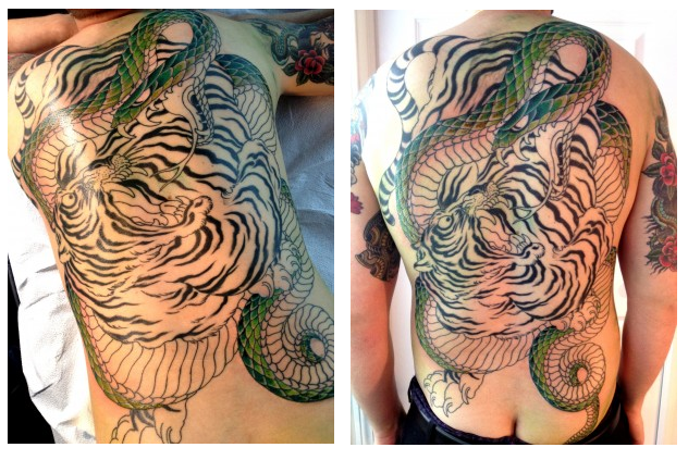 tiger and snake tattoo in progress chris o 39 donnell tattoo. Black Bedroom Furniture Sets. Home Design Ideas