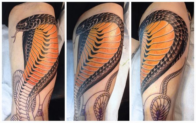 Phase 1 of Nick's Cobra tattoo... — Chris O'Donnell Tattoo
