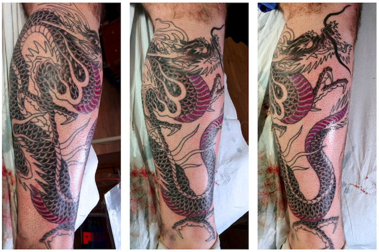 In-progress tattoo by Chris O'Donnell 2014