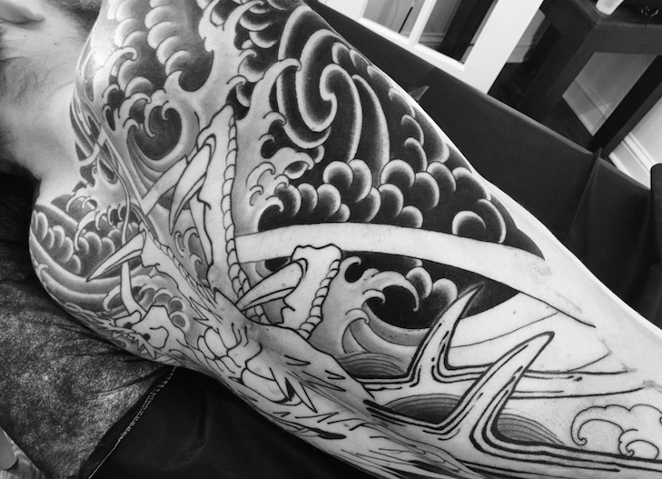 In-progress tattoo by Chris O'Donnell 2017