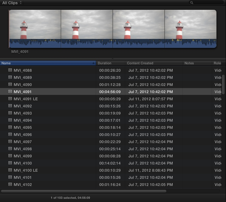 Footage imported into Final Cut Pro X