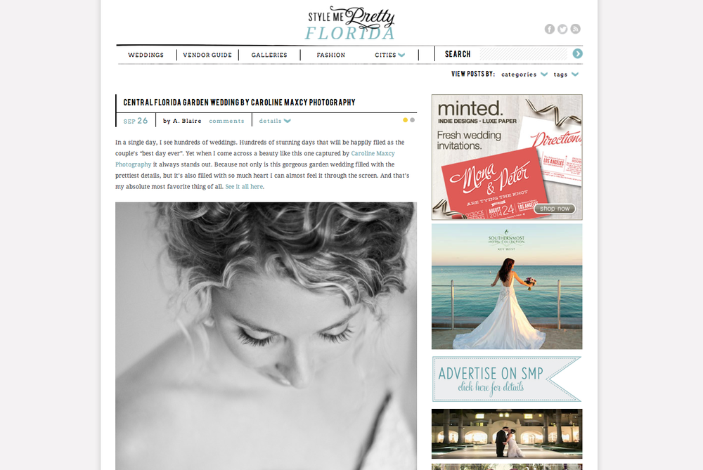 Amber and Justin's Central Florida wedding by Caroline Maxcy Photography featured on Style Me Pretty Florida.