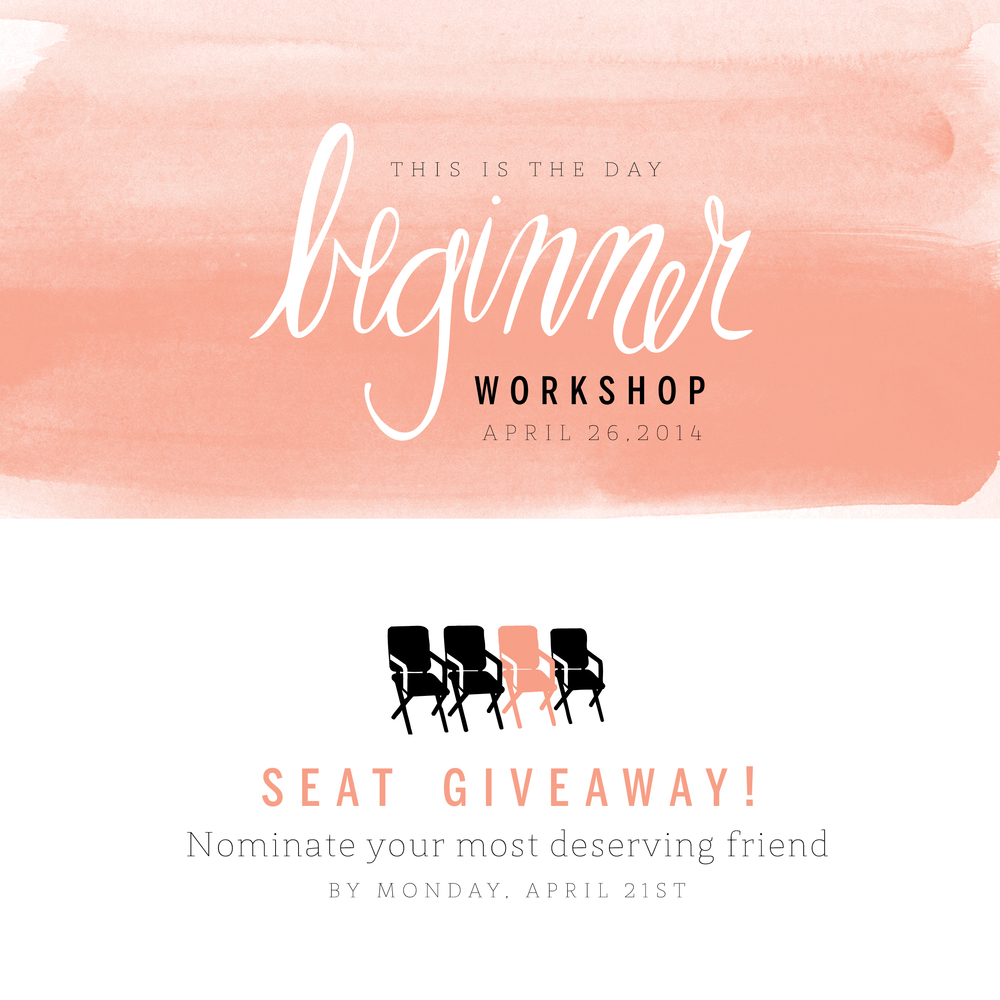 This is the Day Beginner Photography Workshop Seat Giveaway!