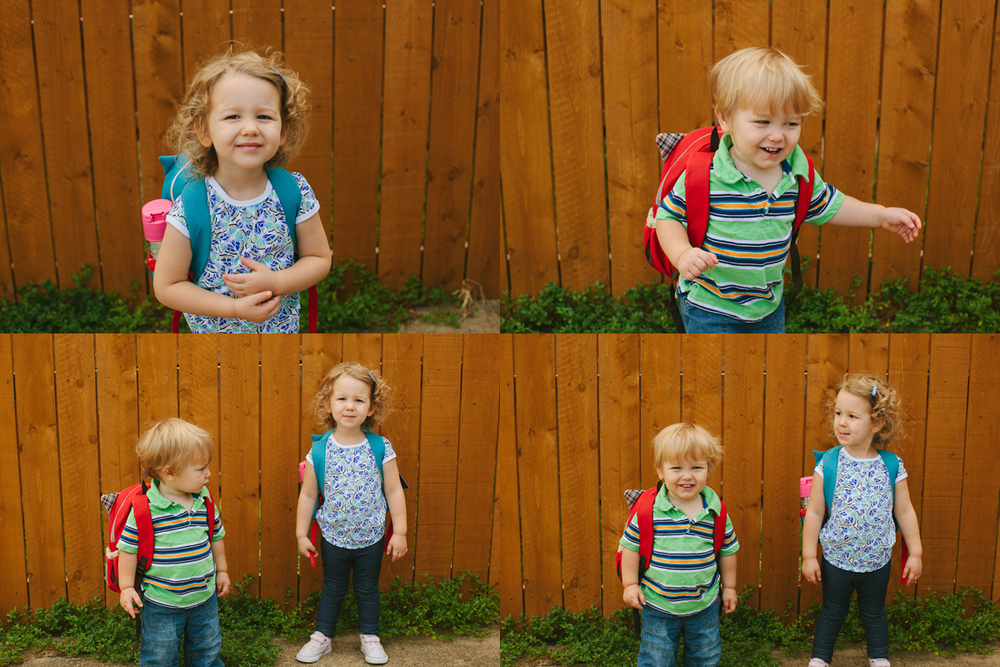 Chubby Easton in a backpack and Eisley's short curls...be still my heart.  August 2012.