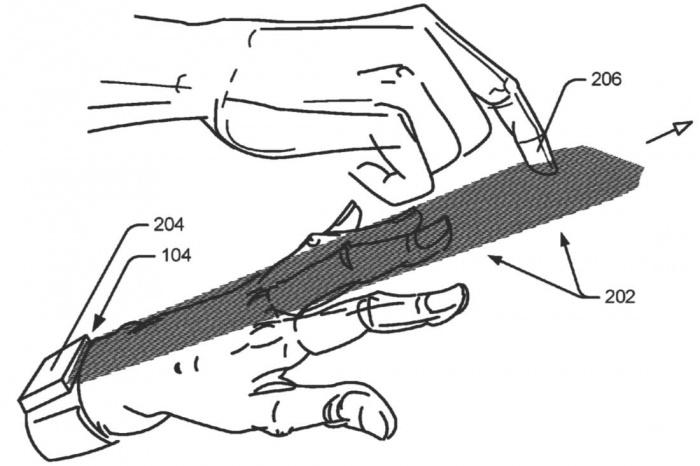 Esquema mostra como funciona a tecnologia da Google;a mancha cinza é o campo de radar onde o usuário faz os gestos (Imagem: Reprodução/USPTO)