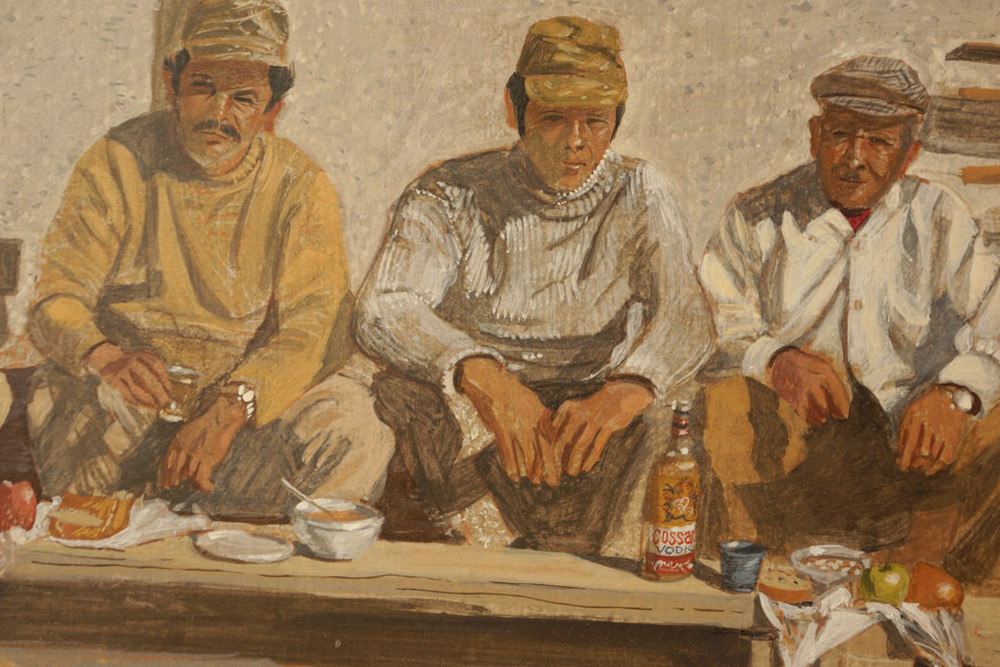 detail:  kolatsio, c onstruction workers on lunch break:  egg tempera on board