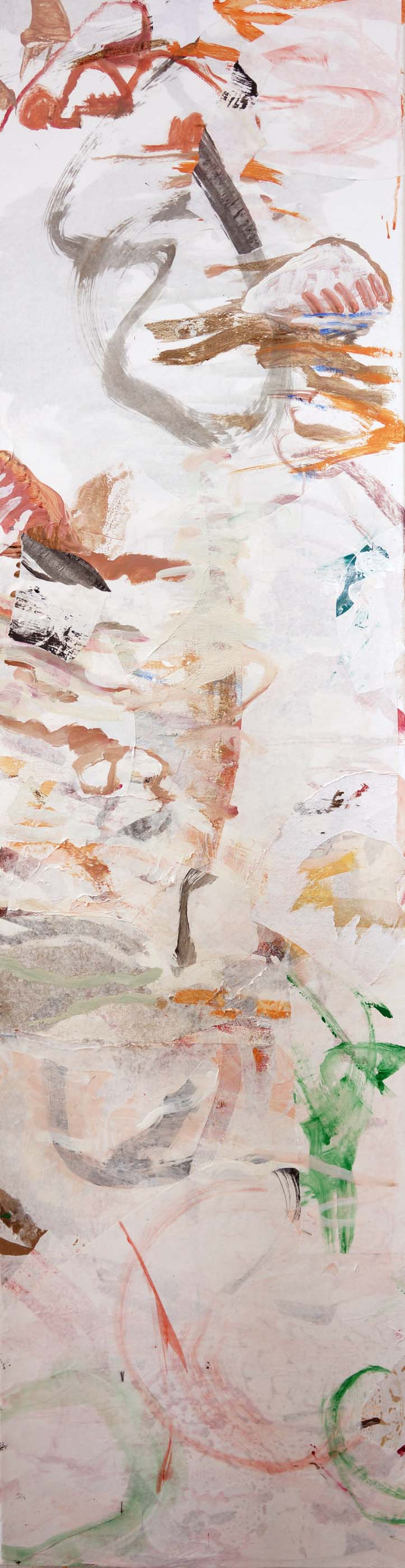 "DAY 3:  bada creek   72X18""  acrylic & collaged paper on canvas"