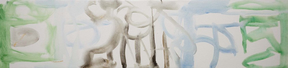 """PHASE 1  zhao creek  16x66""""  acrylic & collaged paper on canvas"""