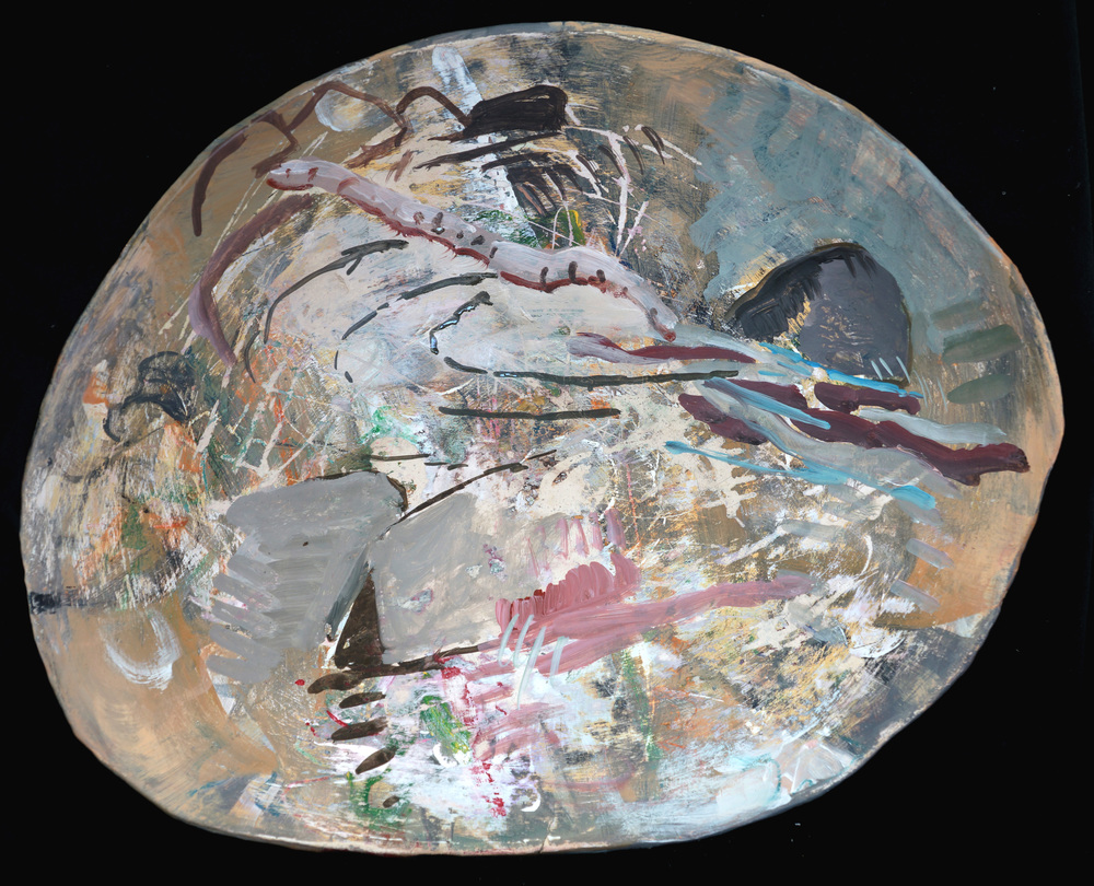 "ceramic platter, 14x17""  acrylic color on ceramic platter"