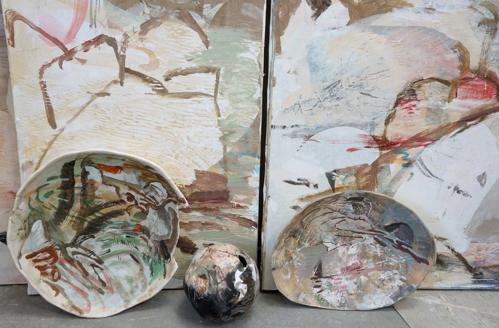 susan watt's ceramic platters & bowl i've painted over the past week, sitting on the studio floor with recent brother & sister paintings. link below will take you to the new studio paintings page, where these paintings can be viewed.