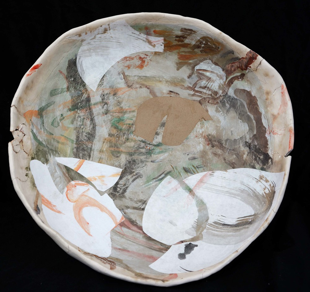"1:00 pm  tarlow/watt ceramic platter #18  18.5"" diameter  kiln & pit fired ceramic, acrylic & collaged paper"