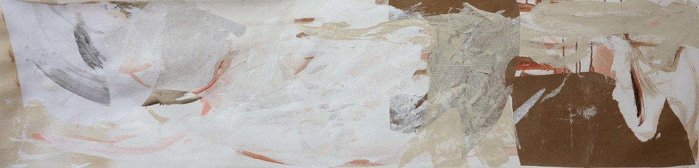 "STAGE I    wu zhen creek   16x66""  acrylic & collaged paper on canvas"