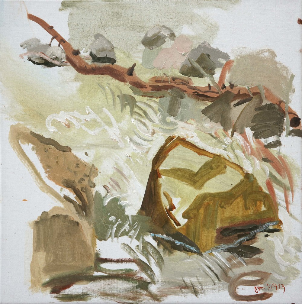 "5/19/13 n. crestone creek   16x16""  oil on linen"