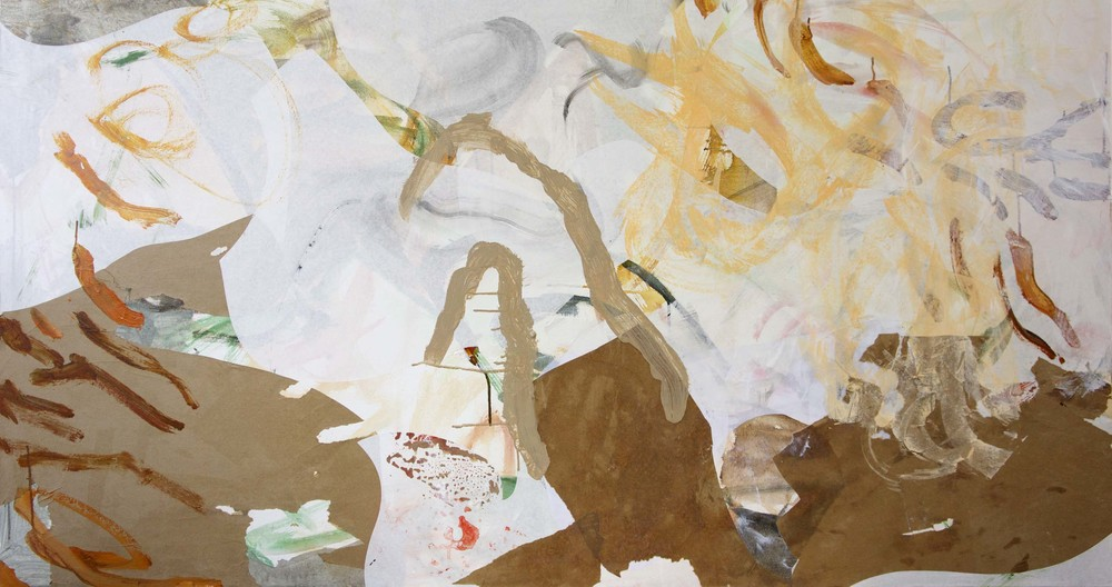 """DAY 2, STAGE 1 yaoshan creek 38x72""""  acrylic & collaged paper on canvas"""