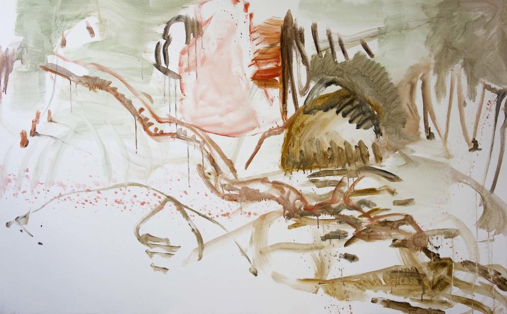 "DAY 1, STAGE 1:  jiyu creek  48x72""  acrylic on canvas"