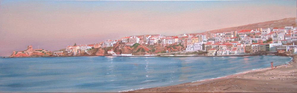 chora andros, late afternoon  30x100 cm.  sold. commission possible