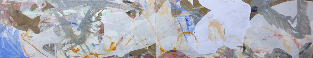 "9/3/13  STAGE 3  wei creek   18x96"" (2 canvases)  acrylic & collaged paper on canvas"