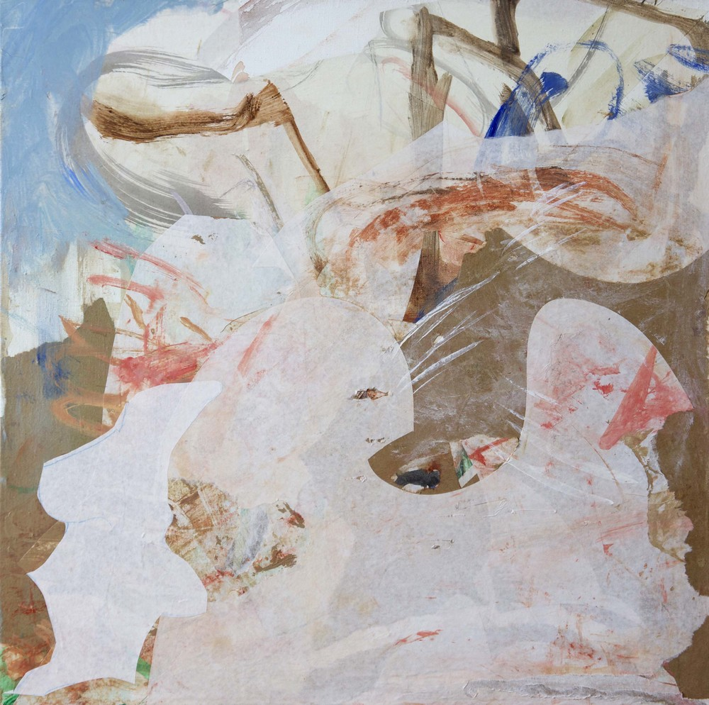 """ciyu creek  25x25""""  acrylic & collaged paper on canvas"""