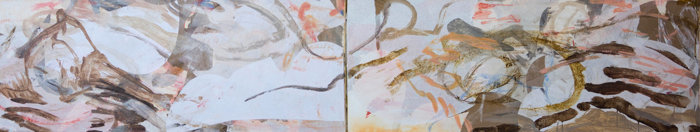 "10/23/13:  cheng creek  18x96"" acrylic & collaged paper on linen"