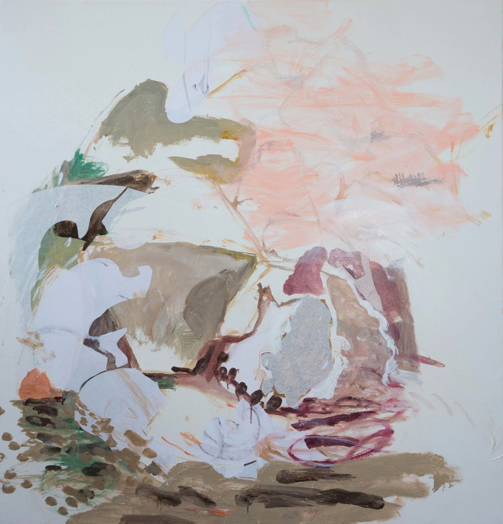 """STAGE 1: kuang creek 48x50""""  acrylic & collaged paper on canvas"""