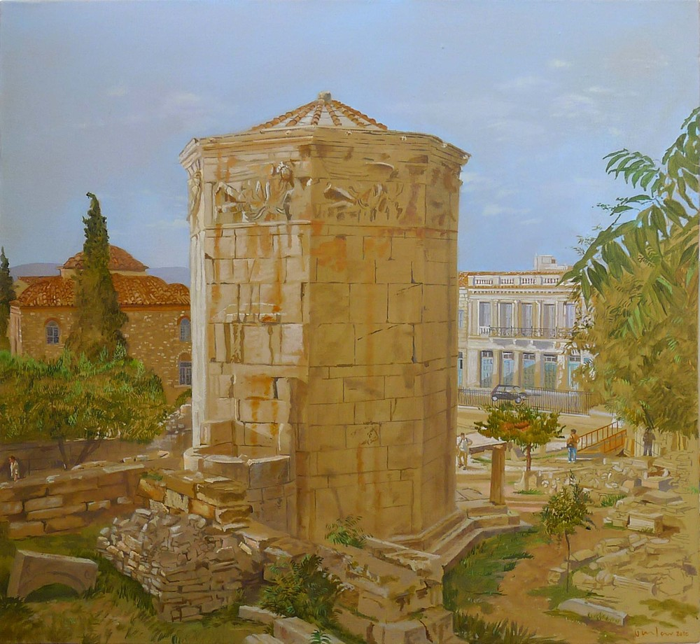 painting of the tower of the winds, visible from my plaka studio