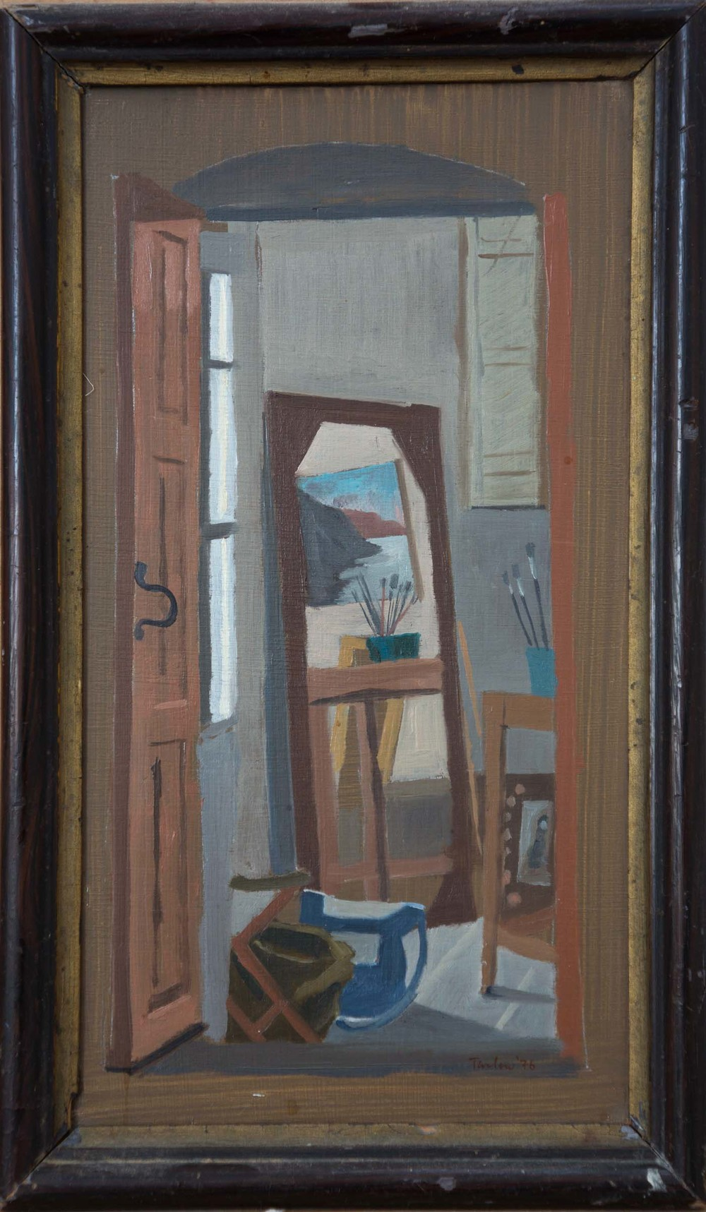 my studio: chora, andros  oil on wood 24.5x13cm.