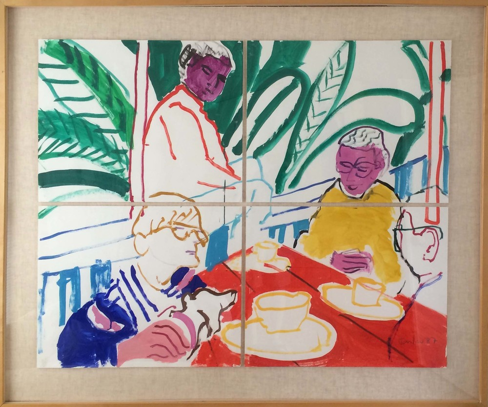 1987 painting in gouache on paper of hockney & friends on the deck of his hollywood hills house