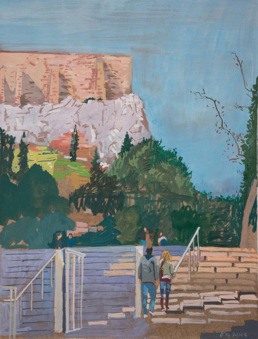 "view towards the acropolis  9.25x12""/22.5x30.5cm"