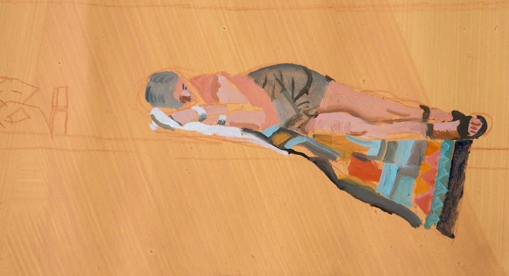 DETAIL: woman sleeping, yialia beach 18x34 in