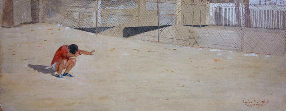 "crouching figure, santa monica 7.75x20"" egg tempera on board"
