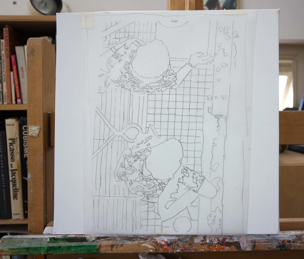 "preliminary drawing for  best left unsaid 3   tracing paper laid on 16x16"" linen canvas"