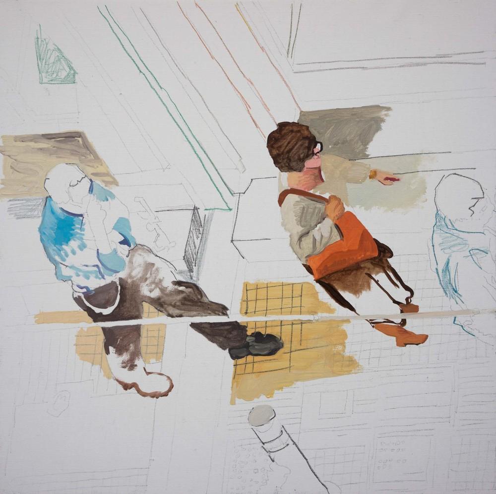 """best left unsaid 6  16x16"""" oil, colored pencil & graphite on portrait linen"""