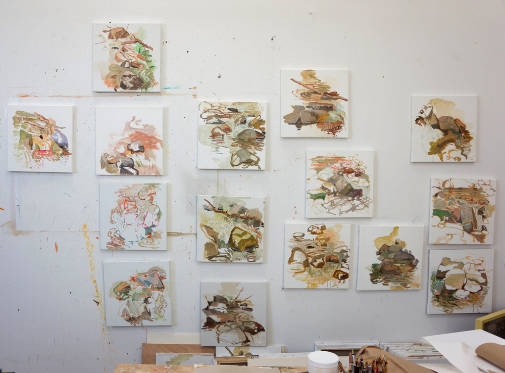 selection of 2012-13 -14  plein air painitngs on my studio wall. furthest left: yesterday's painting.