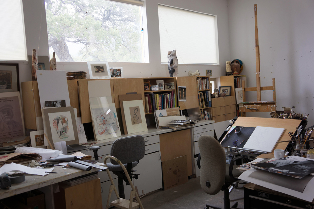 my studio, with the new canvas resting on my drafting table, where i'm about to begin work