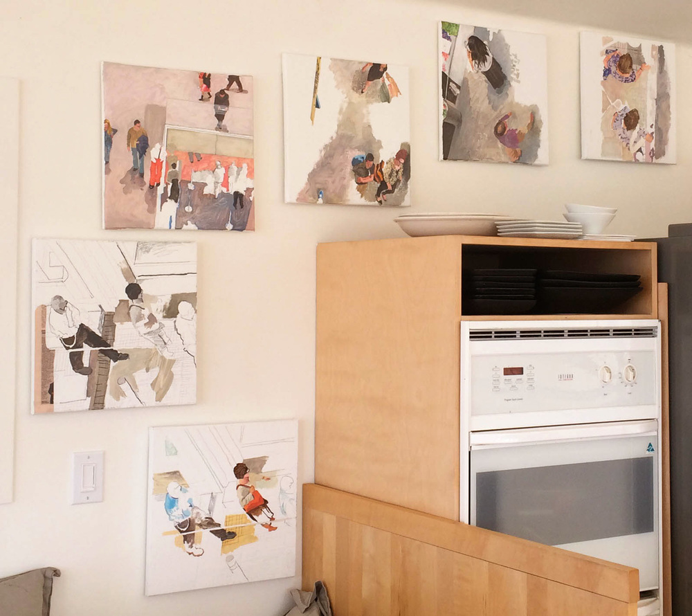 the  best left unsaid  series on our kitchen area wall