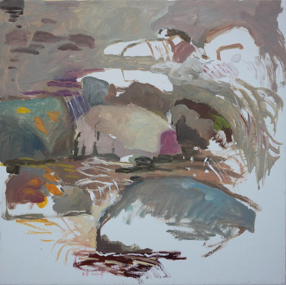 """10-16-14 n. crestone creek  16x16"""" oil on portrait linen"""